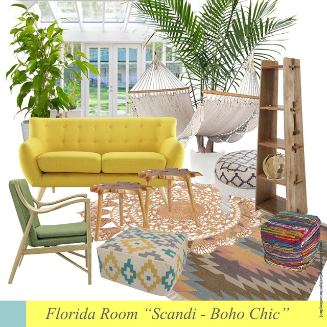 "How to give a Florida Room a ""Scandi-Boho Chic"" Style"